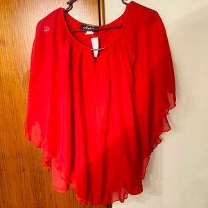 NWT Arabella Red Chiffon Poncho key hole neckline